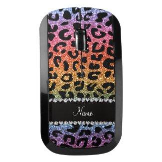 Custom name rainbow glitter cheetah print wireless mouse