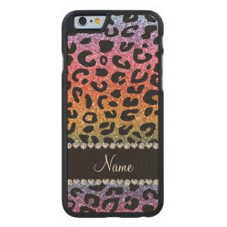 Custom name rainbow glitter cheetah print carved® maple iPhone 6 case