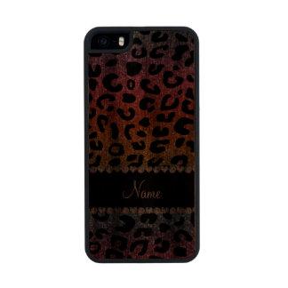 Custom name rainbow glitter cheetah print carved® walnut iPhone 5 slim case