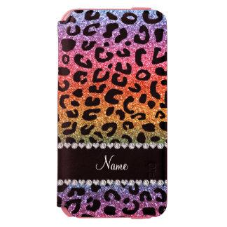 Custom name rainbow glitter cheetah print incipio watson™ iPhone 6 wallet case