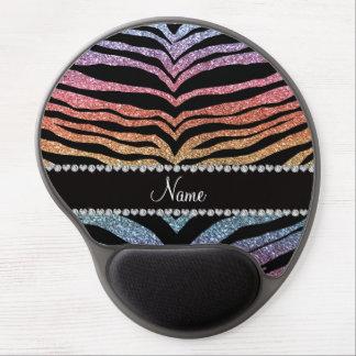 Custom name rainbow glitter tiger stripes gel mouse pads