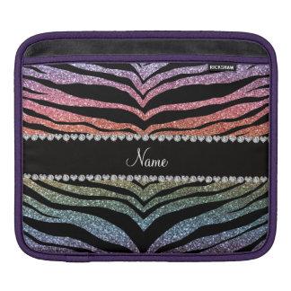 Custom name rainbow glitter tiger stripes iPad sleeves