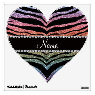 Custom name rainbow glitter tiger stripes wall decal