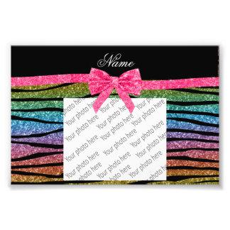 Custom name rainbow glitter zebra stripes bow photo print