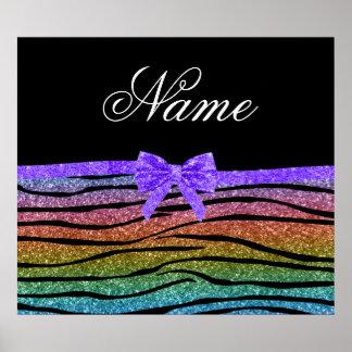 Custom name rainbow glitter zebra stripes bow poster