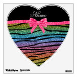 Custom name rainbow glitter zebra stripes bow room sticker
