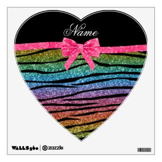Custom name rainbow glitter zebra stripes bow wall sticker