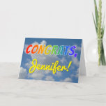 "[ Thumbnail: Custom Name, Rainbow Look ""Congrats"", Cloudy Sky Card ]"