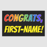 "[ Thumbnail: Custom Name, Rainbow Look ""Congrats"" Sticker ]"