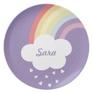 Custom Name Rainbow Plate