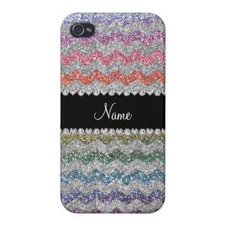 Custom name rainbow silver glitter chevrons iPhone 4/4S covers