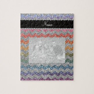 Custom name rainbow silver glitter chevrons puzzles