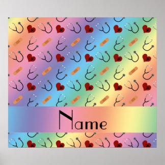 Custom name rainbow stethoscope bandage heart poster