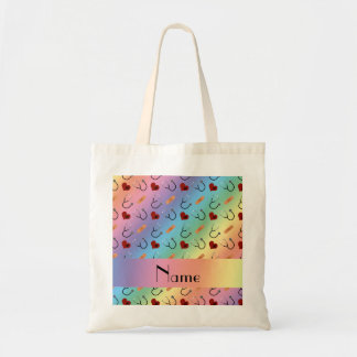 Custom name rainbow stethoscope bandage heart tote bag