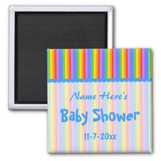 Custom Name. Rainbow Stripes Baby Shower. Refrigerator Magnet