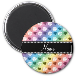 Custom name rainbow volleyballs and hearts magnet