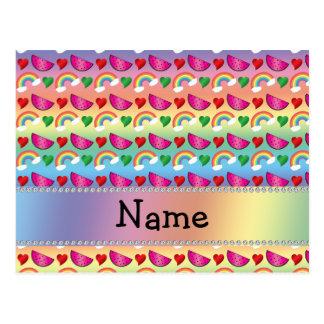 Custom name rainbows watermelons hearts post cards