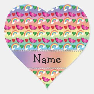 Custom name rainbows watermelons hearts heart stickers