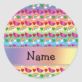 Custom name rainbows watermelons hearts round stickers