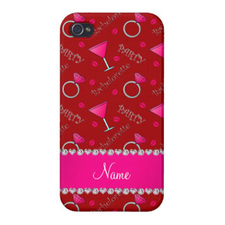 Custom name red bachelorette cocktails rings iPhone 4 cover