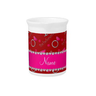 Custom name red bachelorette cocktails rings drink pitcher