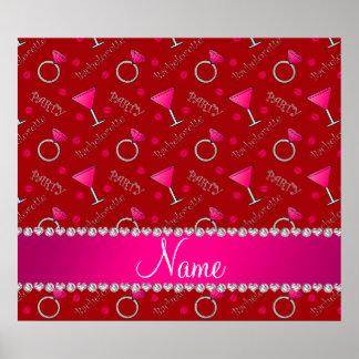 Custom name red bachelorette cocktails rings poster