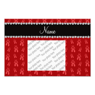 Custom name red ballet shoes photo print