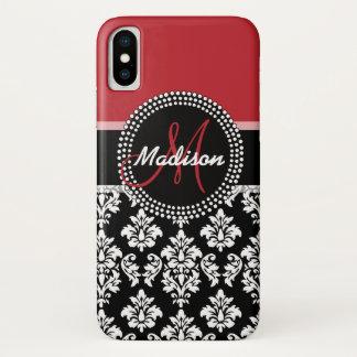 Custom Name Red Black Damask Pattern Monogram iPhone X Case