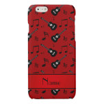 Custom name red black guitars music notes glossy iPhone 6 case