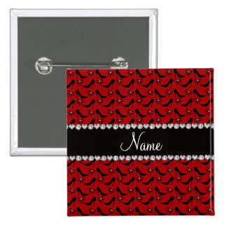 Custom name red black high heels bow diamond pinback button