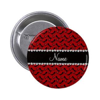 Custom name red black high heels bow diamond button