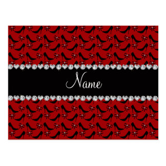 Custom name red black high heels bow diamond postcard