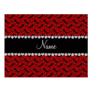 Custom name red black high heels bow diamond postcard