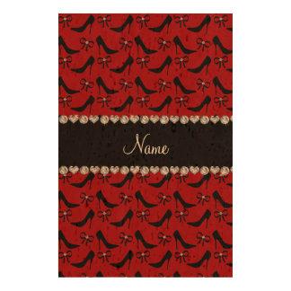 Custom name red black high heels bow diamond queork photo prints