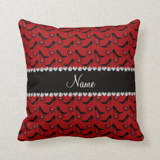 Custom name red black high heels bow diamond throw pillow