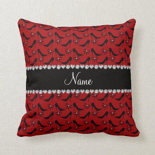 Custom Down Throw Pillows : Custom name red black high heels bow diamond throw pillow Zazzle