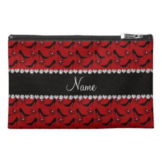 Custom name red black high heels bow diamond travel accessories bag
