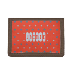 Custom Name Red Blue Stars Kids Trifold Wallet at Zazzle