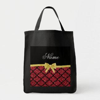 Custom name red burgundy glitter moroccan gold bow tote bag