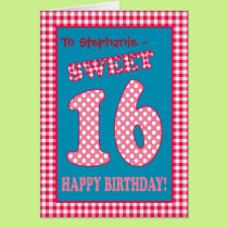 Custom Name Red Check, Polkas, Sweet 16th Birthday Card