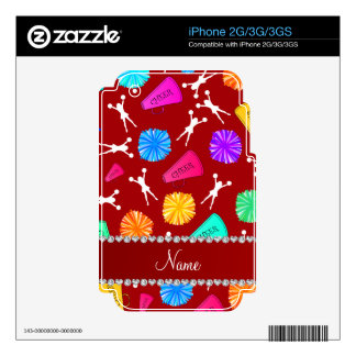 Custom name red cheerleading pompoms skin for the iPhone 3