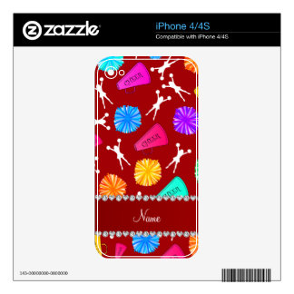 Custom name red cheerleading pompoms decal for iPhone 4