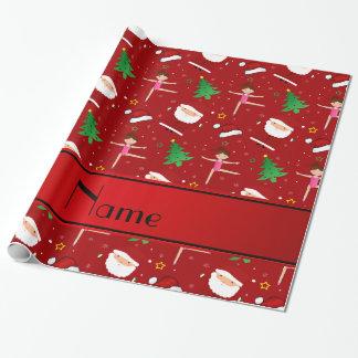 Custom name red christmas gymnastics santas wrapping paper