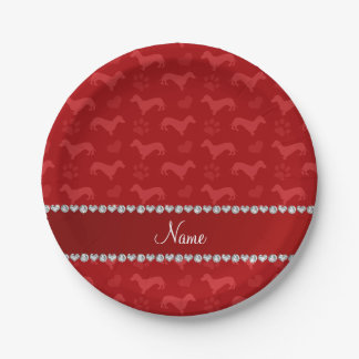 Custom name red dachshunds hearts paws paper plate