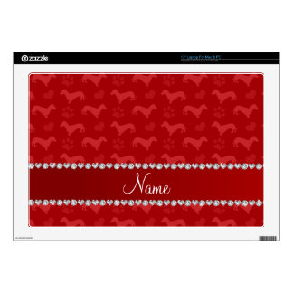 Custom name red dachshunds hearts paws skins for laptops