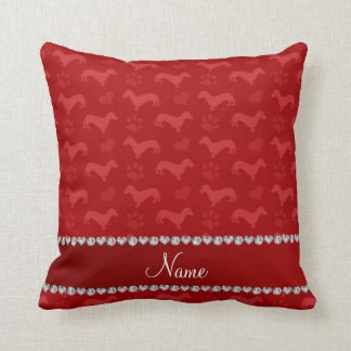 Custom name red dachshunds hearts paws throw pillow