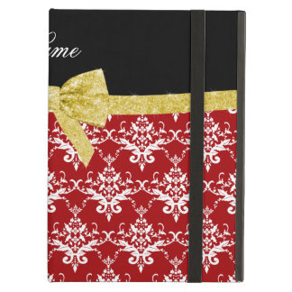 Custom name red damask gold glitter bow iPad cases
