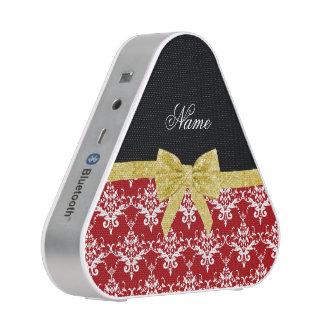 Custom name red damask gold glitter bow speaker
