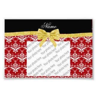 Custom name red damask gold glitter bow art photo