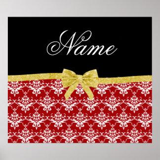 Custom name red damask gold glitter bow poster